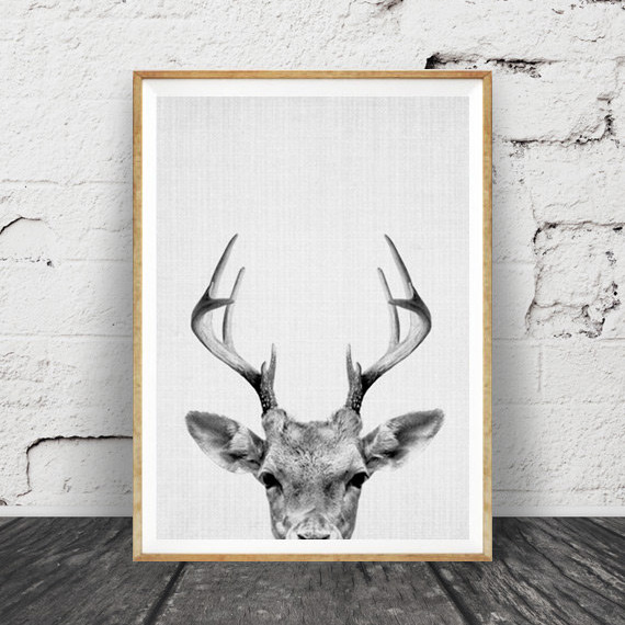 DEER HEAD 子鹿のモノクロ アートポスター