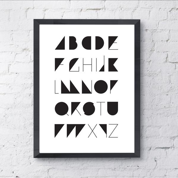 アルファベット A to Z (ABC) モノクロポスター