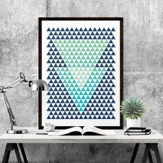 画像2: Triangles Geometric 三角形 MINI ジオメトリック アートポスター (2)