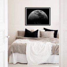 """画像3: """"La Luna"""" Moon お月さま おしゃれモノトーン アート ポスター (3)"""