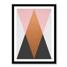画像2: Geometric ジオメトリック トライアングルズ Pink Black モダン アートポスター (2)