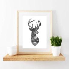 画像2: NATURE IN DEER HEAD ★ 鹿 自然 モノトーン アートポスター (2)