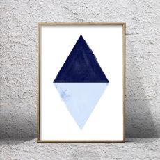 画像1: DIAMOND ダイヤモンド モダン インディゴ アート ポスター (1)