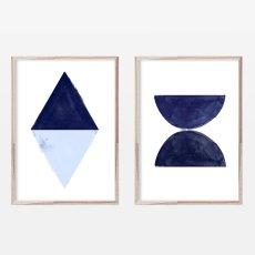 画像1: SET of 2 インディゴ アートポスター (2枚セット) (1)