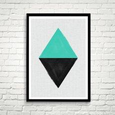 画像2: Geometric ジオメトリック 2TONE スタイリッシュ ポスター (エメラルド) (2)