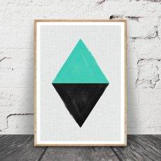 画像1: Geometric ジオメトリック 2TONE スタイリッシュ ポスター (エメラルド) (1)