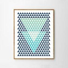画像1: Triangles Geometric 三角形 MINI ジオメトリック アートポスター (1)
