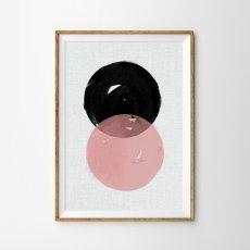 画像1: Pink Geometric ジオメトリック モダンアート ミッドセンチュリー  北欧ポスター (1)