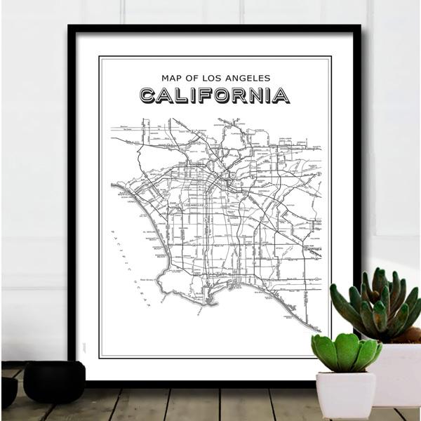 画像1: +SAMPLE SALE+  カリフォルニア 西海岸地図 ポスター(B2サイズ) (1)
