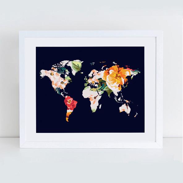 画像1: フローラル 花 世界地図 ART ポスター (1)
