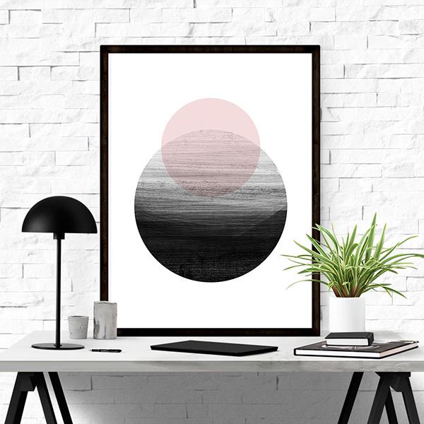 画像1: ジオメトリック Geometric 海と山 おしゃれアートポスター (1)