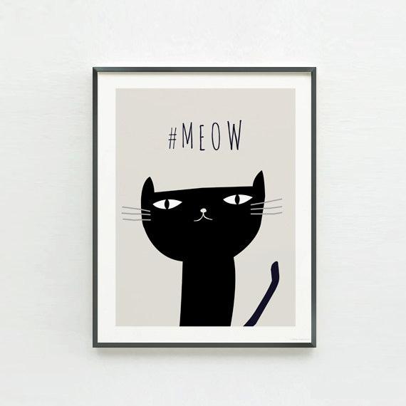 """画像1: 可愛い子猫 """"Meow"""" アートポスター (1)"""