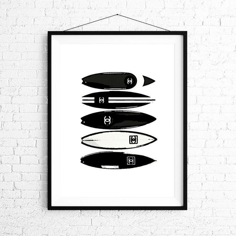 画像1: CHANEL シャネル Surfboard サーフボード ポスター (1)