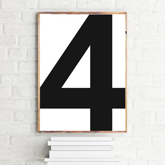 画像1: No. 4 - Typography タイフォグラフィー ナンバーポスター (1)