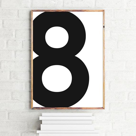 画像1: No. 8 - Typography タイフォグラフィー ナンバーポスター (1)