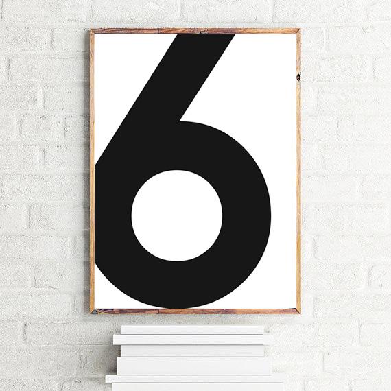 画像1: No. 6 - Typography タイフォグラフィー ナンバーポスター (1)