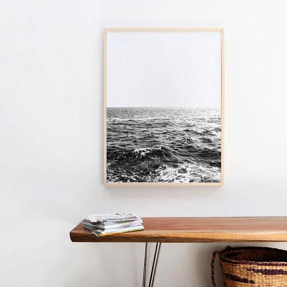 画像1: オーシャン ビーチ モノトーン アート ポスター (1)