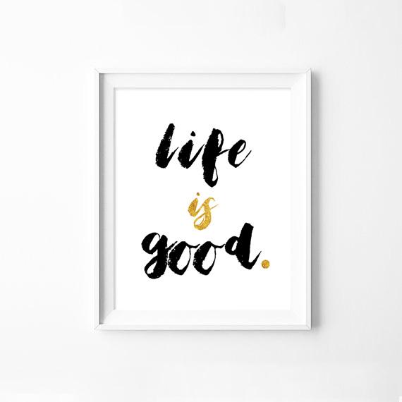 画像1: LIFE IS GOOD - フォイル加工 メッセージポスター (1)