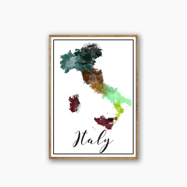 画像1: ITALY イタリア WaterColor マップ ポスター (1)
