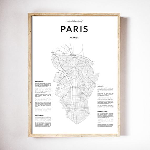 画像1: PARIS France パリ Map Simply マップポスター (1)