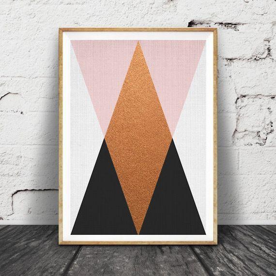 画像1: Geometric ジオメトリック トライアングルズ Pink Black モダン アートポスター (1)