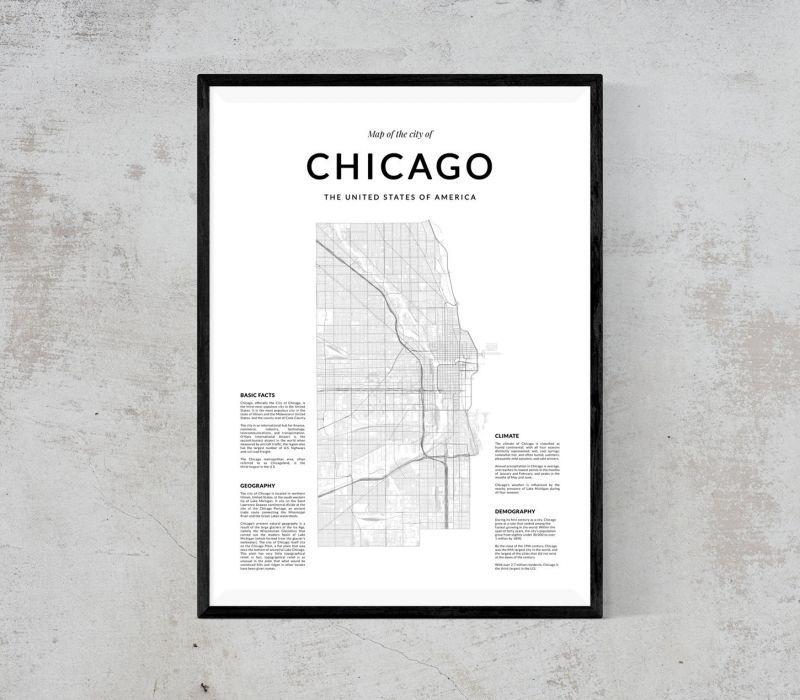 画像1: CHICAGO シカゴ MAP マップ ポスター (1)