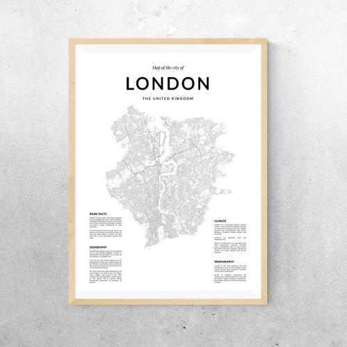 画像1: LONDON ロンドン MAP マップ ポスター (1)