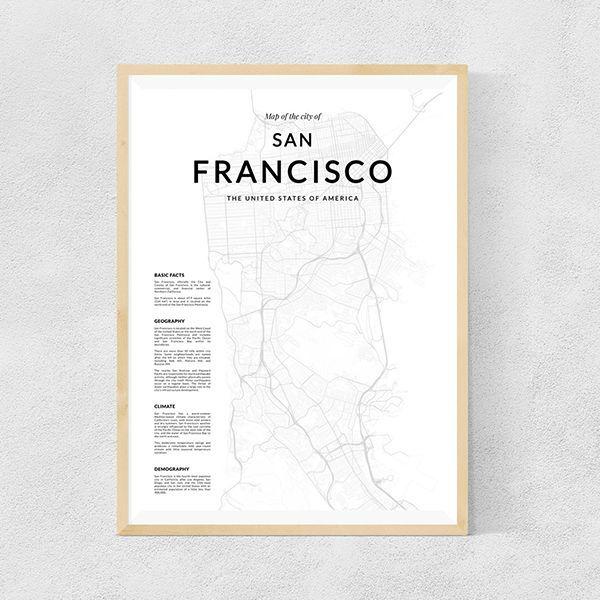 画像1: SAN FRANCISCO サンフランシスコ MAP マップ ポスター (1)