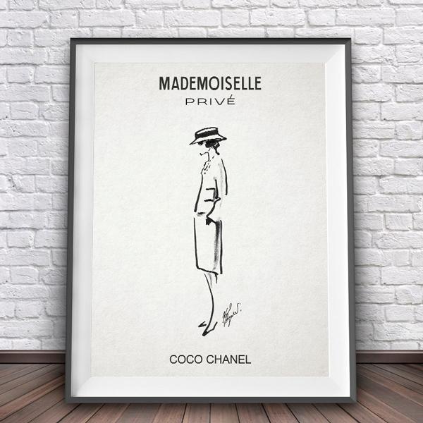 画像1: Coco CHANEL Mademoiselle ココ シャネル マドモアゼル Prive イラストレーション アートポスター (1)