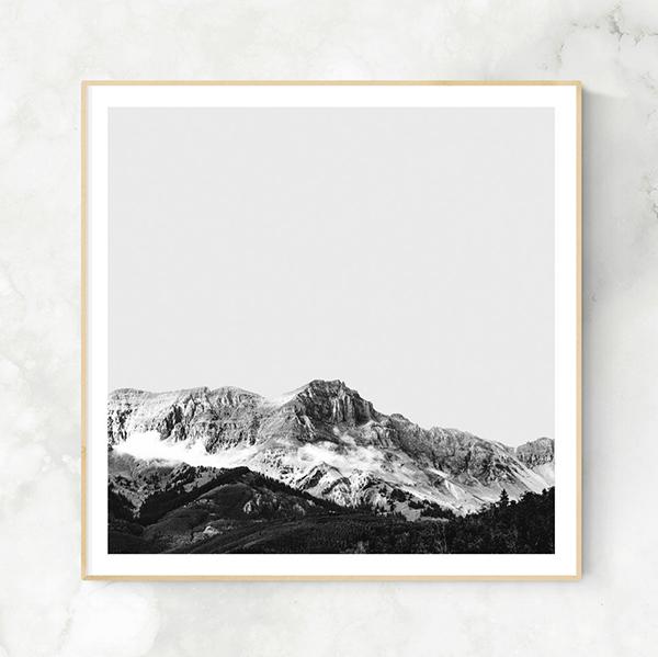 画像1: モノトーン Mountain フォトグラフィー アートおしゃれポスター (1)