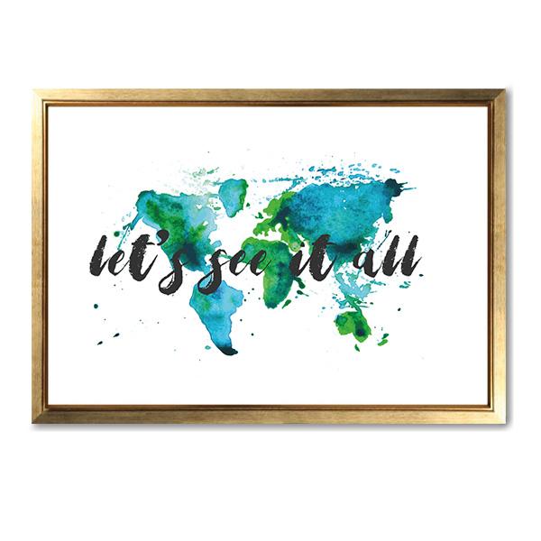 画像1: Let's See it all  世界地図 アート ポスター (1)