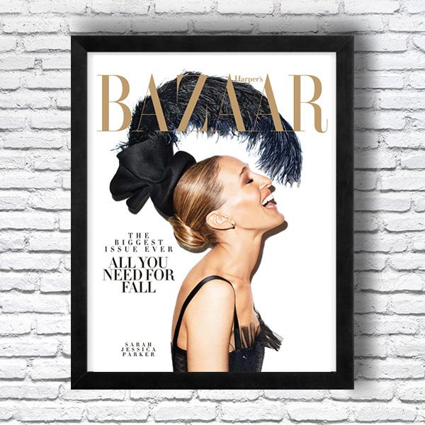 画像1: BAZAAR バザー 雑誌トップカバー サラ.ジェシカパーカー アートポスター (1)