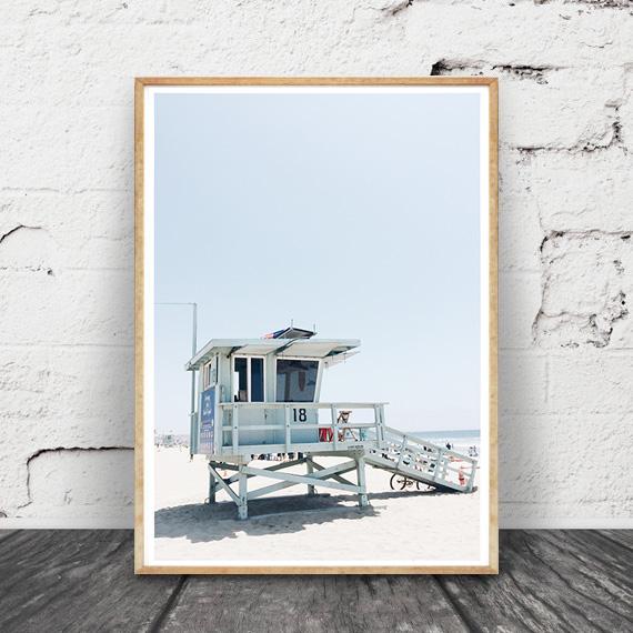 画像1: カリフォルニア Beach Lifeguard stand ビーチ ライフガードスタンド ポスター (1)