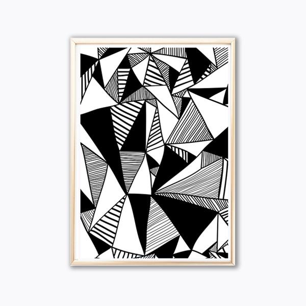 画像1: Geometric Triangles ジオメトリック モノトーン ポスター  (1)