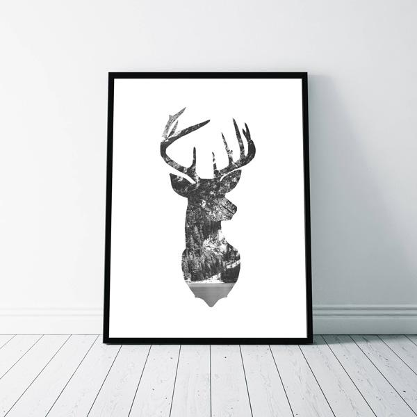 画像1: NATURE IN DEER HEAD ★ 鹿 自然 モノトーン アートポスター (1)