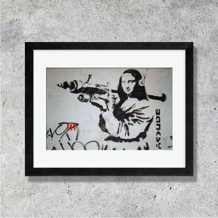 画像1: BANKSY - Mona Lisa バンクシー モナリザ カードポスター (額縁付) (1)