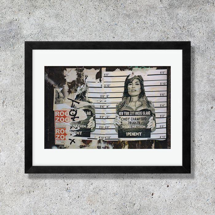 画像1: 1Penemy -  Cindy Crawford シンディークロフォード  (額縁付) (1)