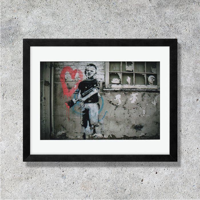 画像1: BANKSY - バンクシー PAINT BOY カードポスター (額縁付) (1)