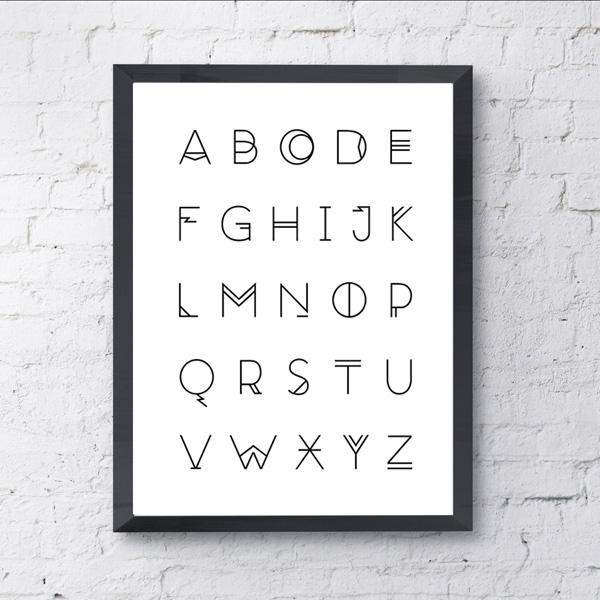 画像1: アルファベット A to Z (ABC) モノトーン ポスター (1)