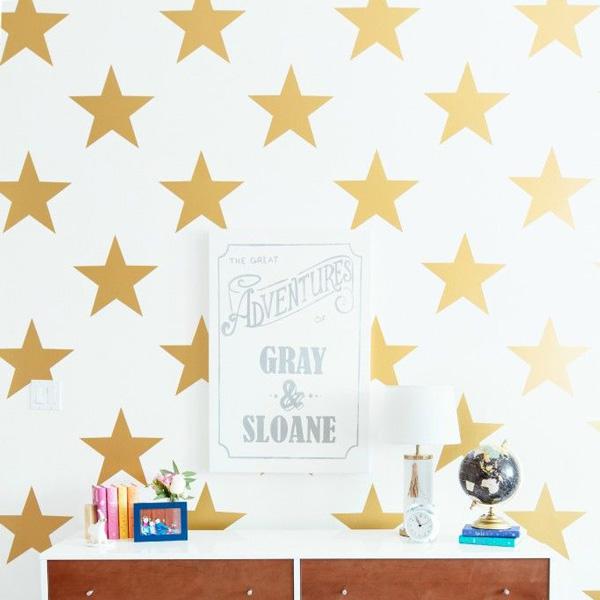 画像1: +SAMPLE SALE + STARS お星様 ★ 壁紙ウォールステッカー(GOLD) (1)