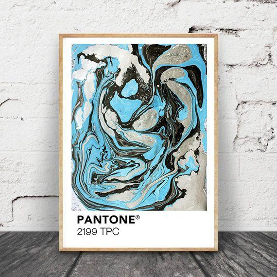 画像1: PANTONE パントーン マーブル おしゃれポスター (Sky Silver Mix) (1)