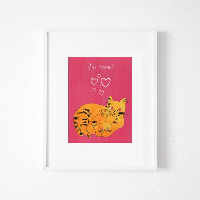 画像1: アンディ・ウォーホル Andy Warhol 『So Meow』子猫ちゃん 額縁込み (1)