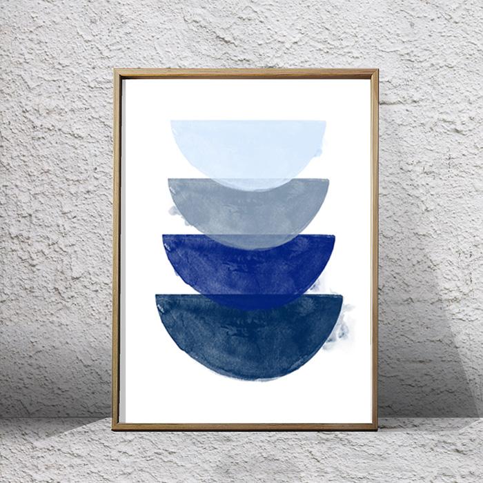 画像1: BLUE GEOMETRIC ジオメトリック グラデーション インディゴ アート ポスター (1)