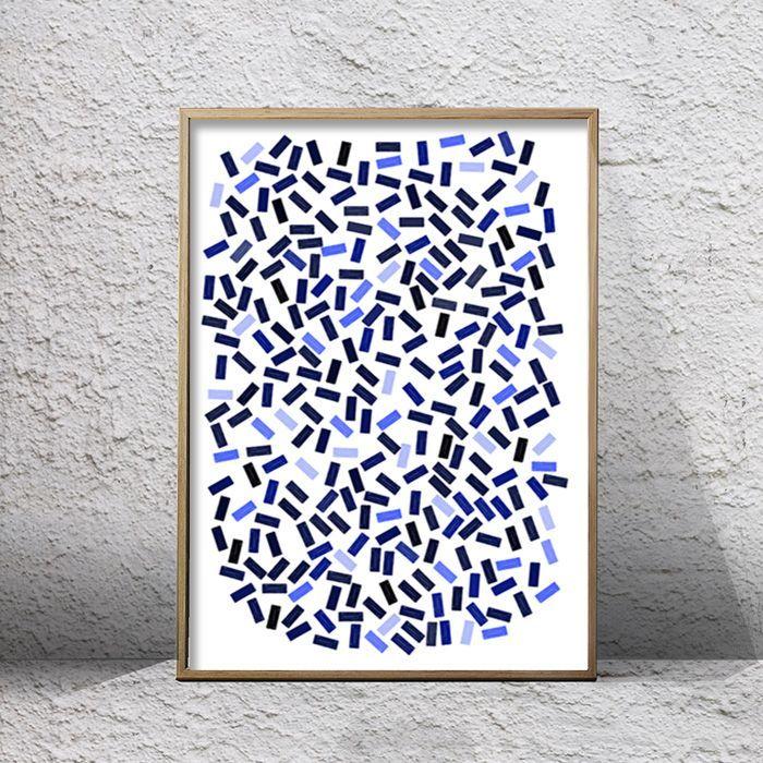 画像1: SQUARE SCATTERED インディゴ アート ポスター (1)