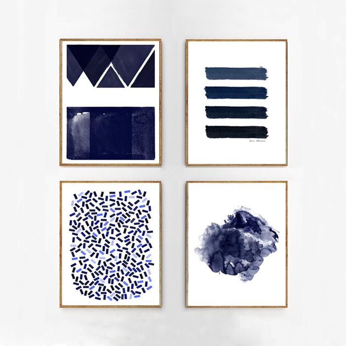 画像1: SET of 4 インディゴ アートポスター (4枚セット) (1)