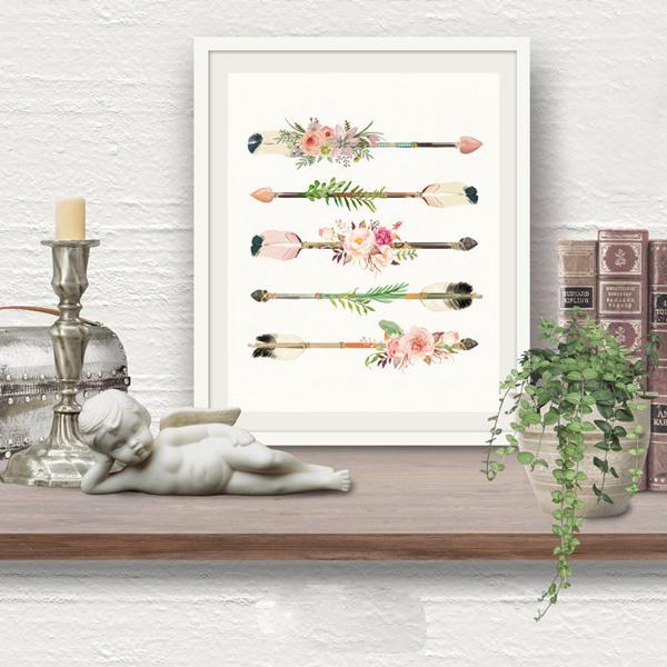 画像1: ロマンチック 可愛いお花のARROW アートポスター (1)