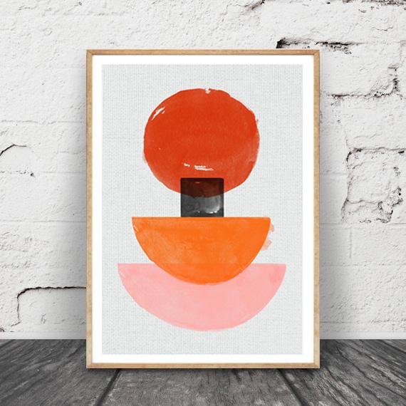 画像1: Sunny Rise Geometric ジオメトリック モダンアート ミッドセンチュリー  北欧ポスター (1)