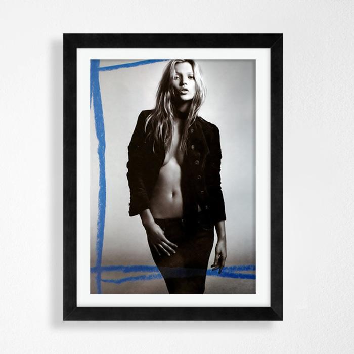 画像1: KATE MOSS モノクロ & Graffiti ポスター(Blue) (1)