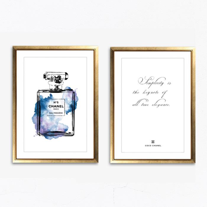 画像1: CoCo CHANEL ココ シャネル 香水ボトルと名言 おしゃれポスター 2枚セット (1)