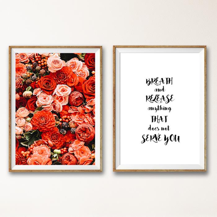 画像1: RED FLOWERS フローラル ポスター 2枚セット (1)